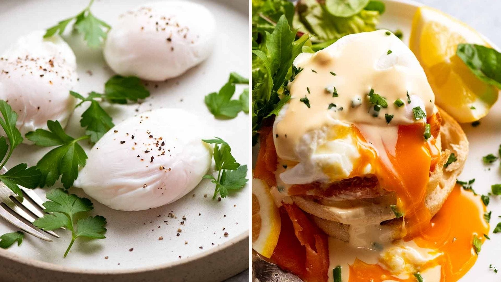 Three poached eggs on a plate and the finished classic eggs Benedict on a plate.