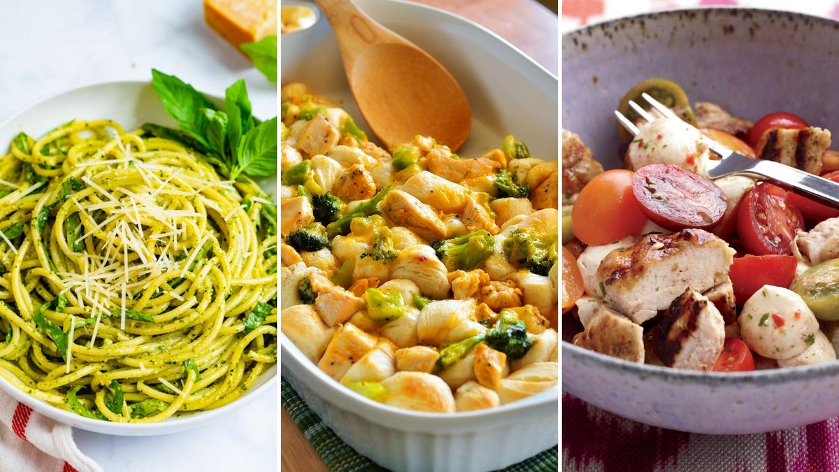 A tri-fold of pesto noodles, a chicken and broccoli casserole, and a chicken Caprese salad.
