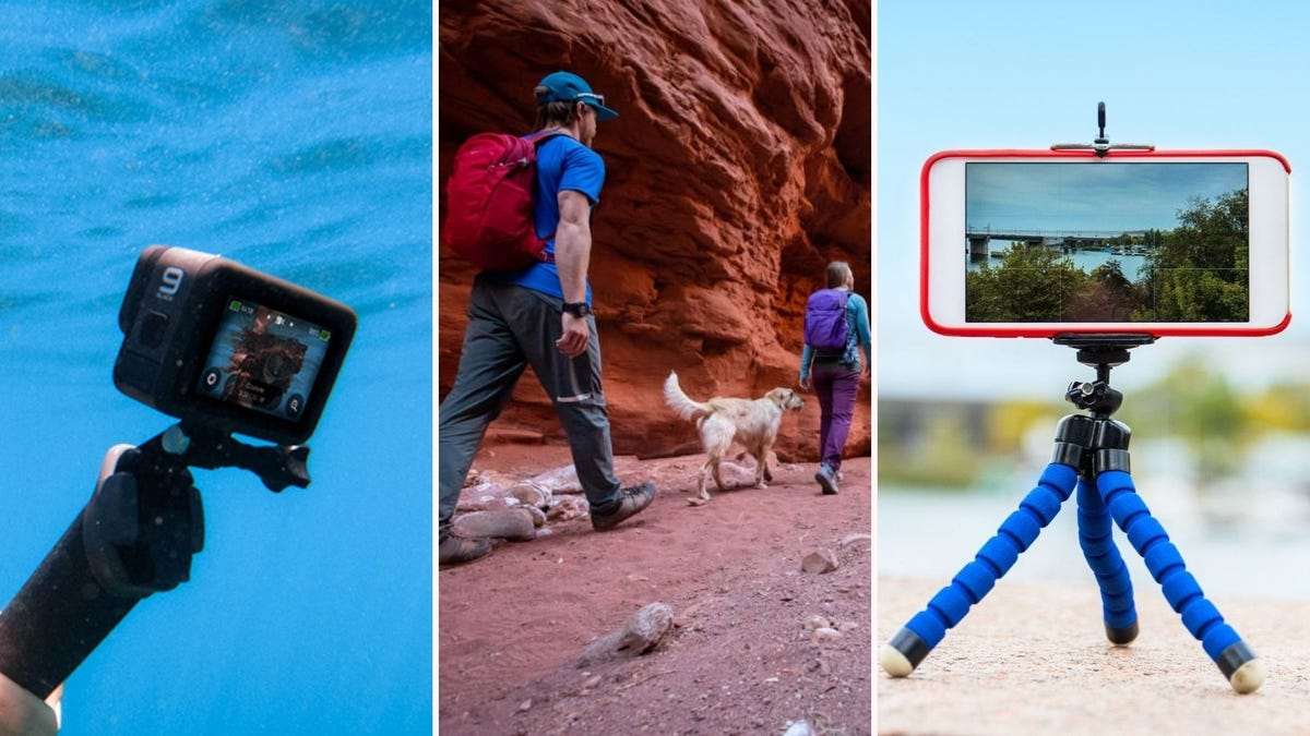 The GoPro Hero9 video camera, a family wearing Osprey Travel Backpacks, and an Ubeesize compact tripod.
