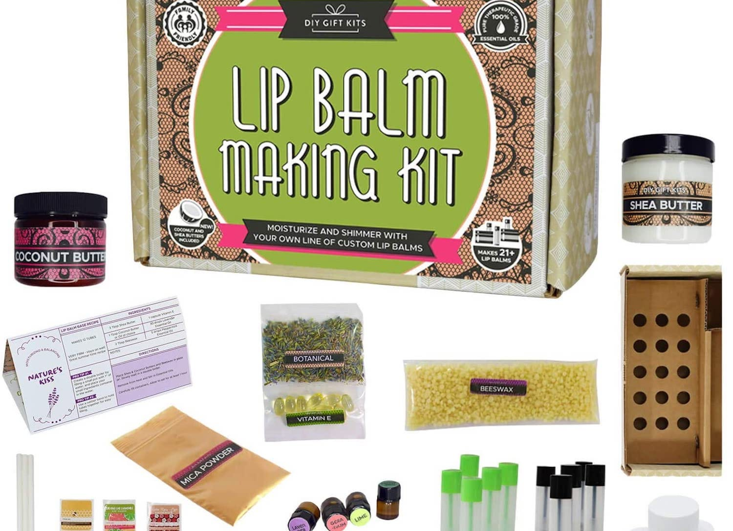 A lip balm DIY kit with ingredients in bags and bottles