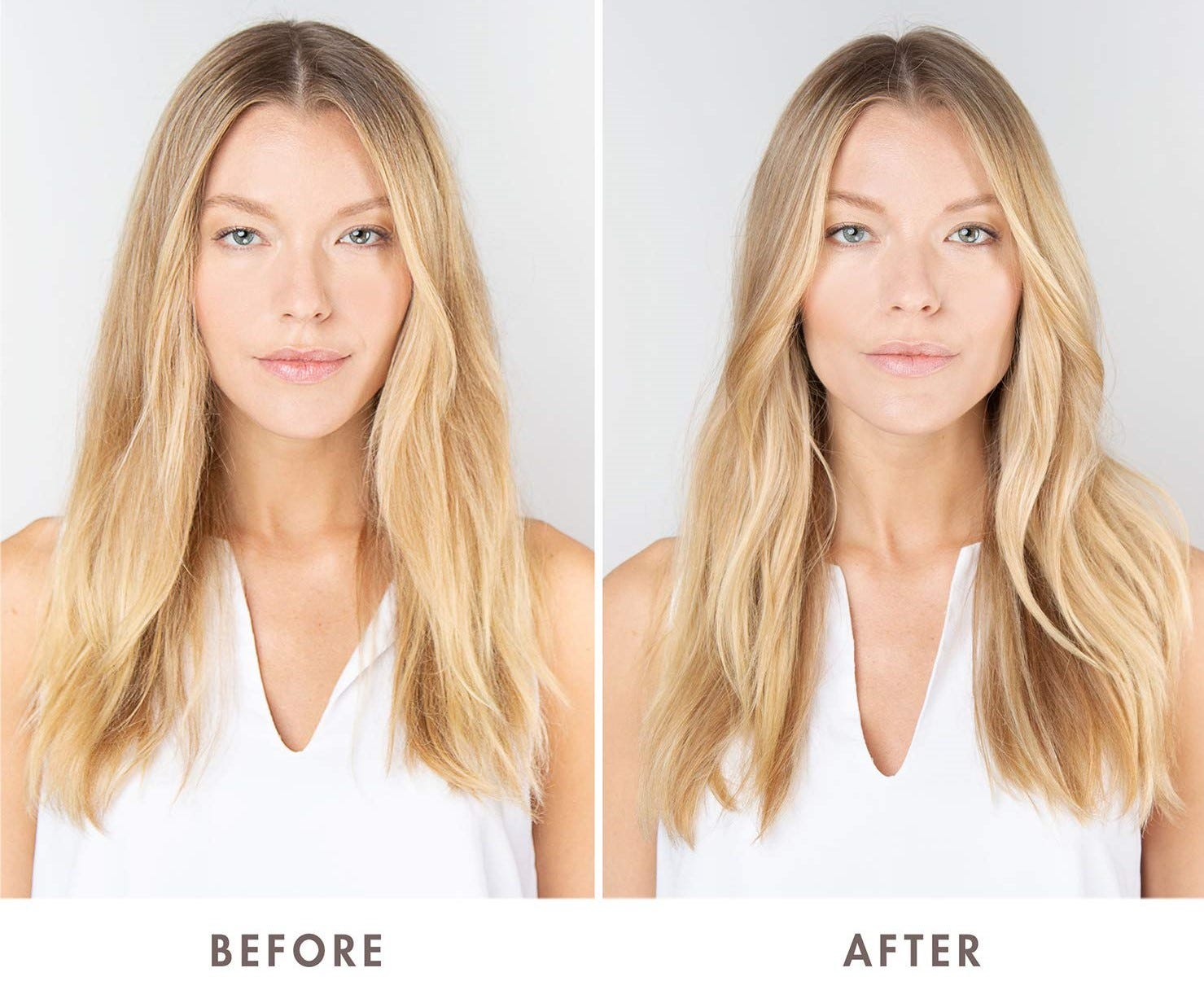 """A comparison of a blonde woman's hair """"Before"""" and """"After"""" she used the Moroccanoil Weightless Hydrating Hair Mask."""