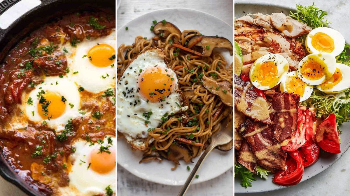 Middle Eastern Baked Eggs by RecipeTin Eats, ramen with crispy fried eggs by How Sweet Eats, and a cobb salad by Bon Appétit.