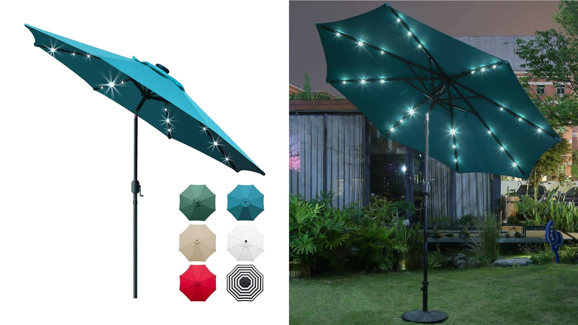 A blue outdoor umbrella on a white background and outside in someone's yard.