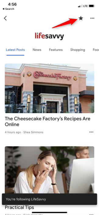 Following LifeSavvy in the Google News app