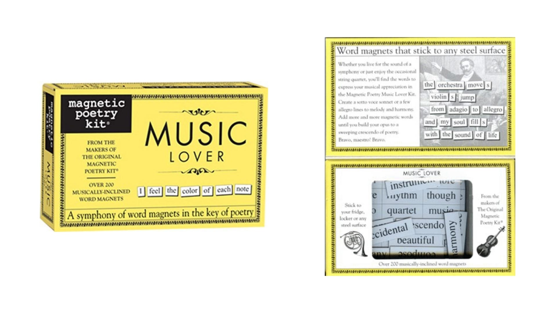 A front and inside view of the Music Magnetic Poetry kit