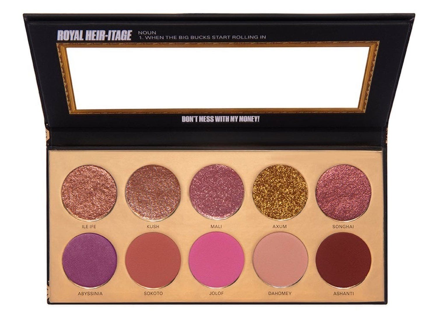 An open eyeshadow palette with ten purple, pink, and gold shadows