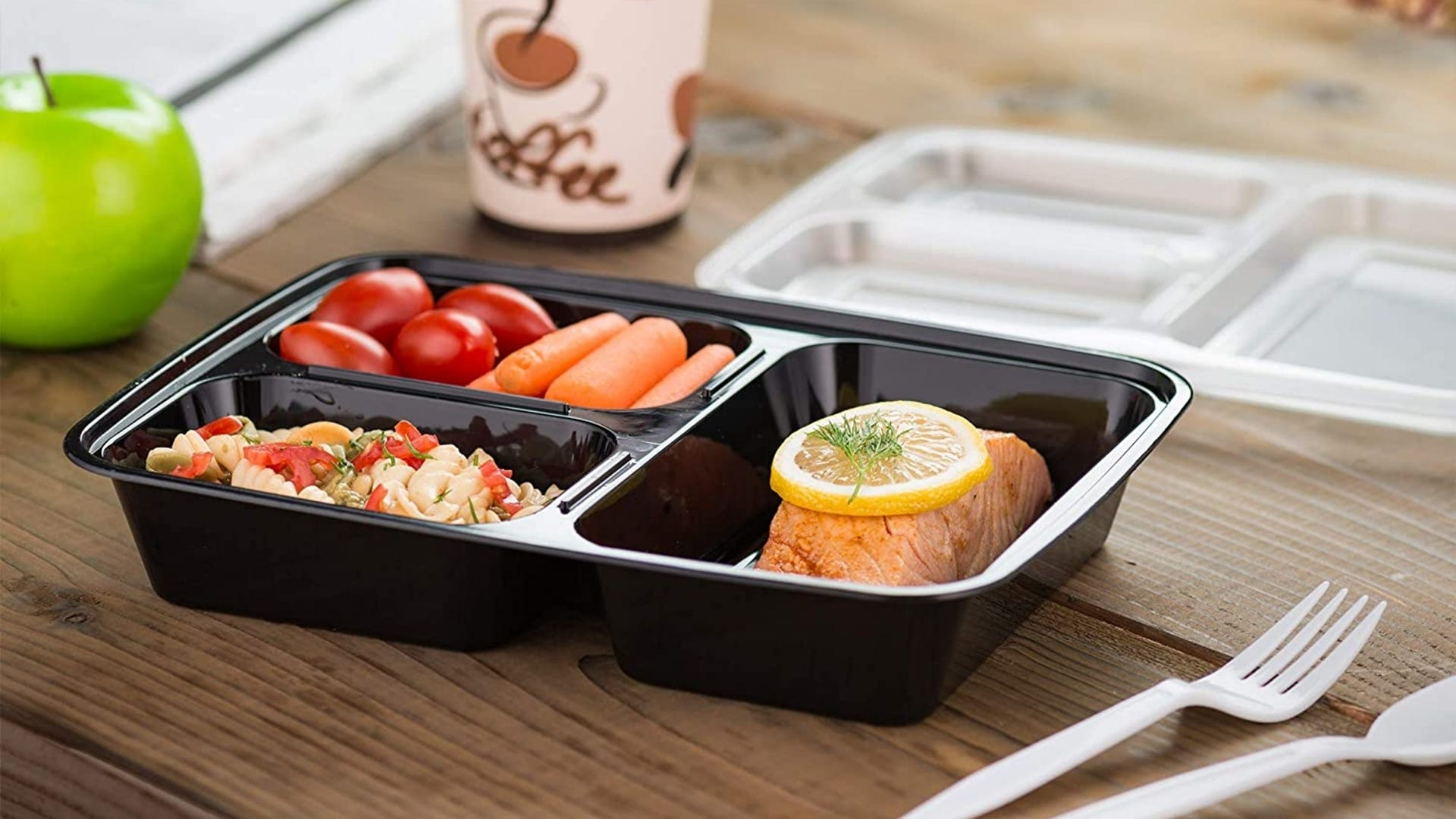 Food container with three compartments