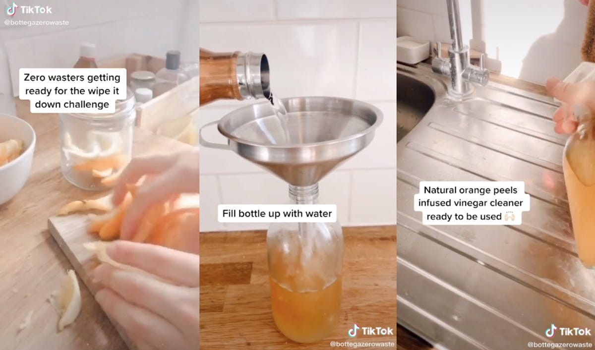 Three images show a person infusing white vinegar with orange peels and creating a cleaner.