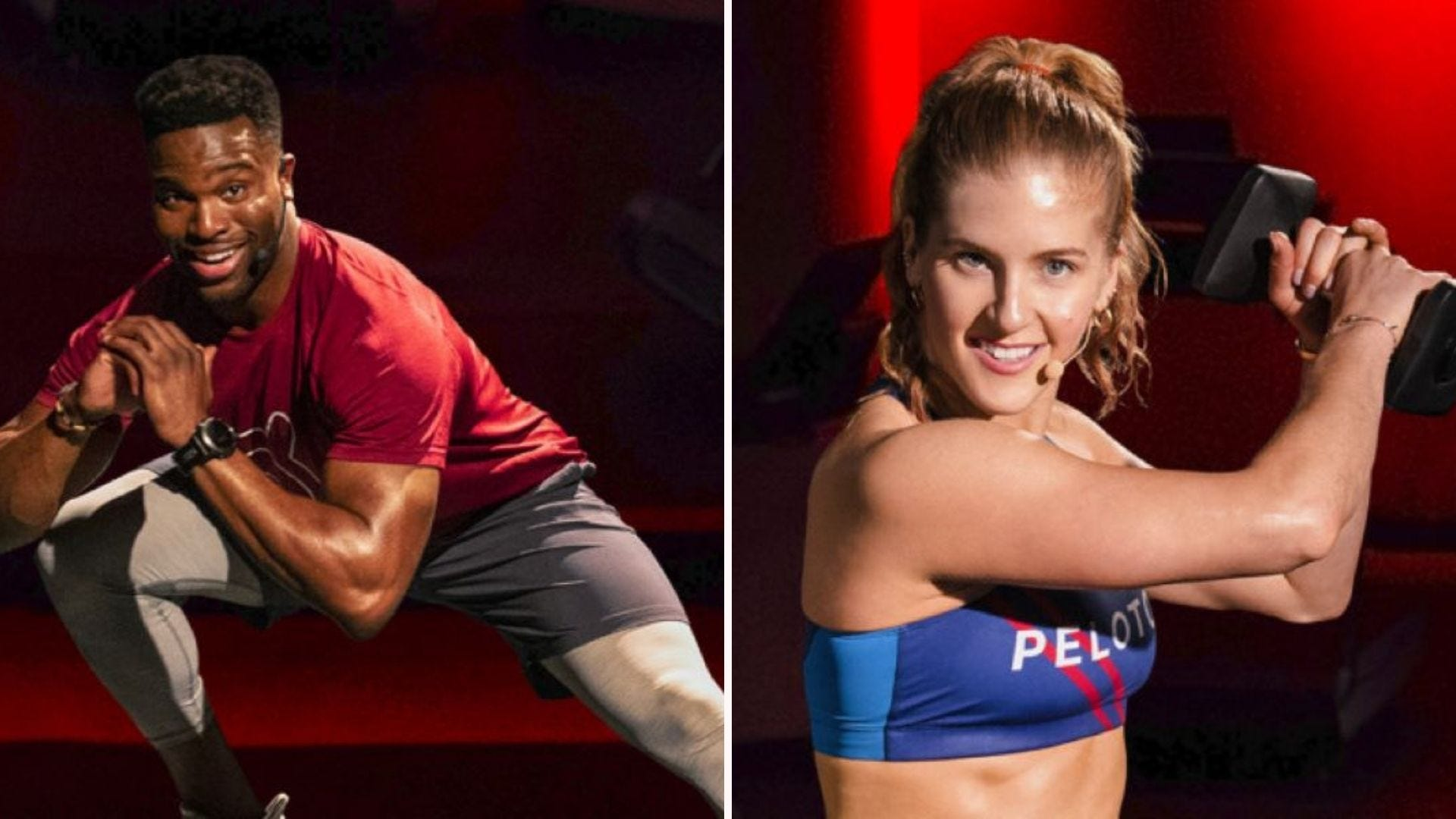 Two Peloton fitness trainers leading workouts.