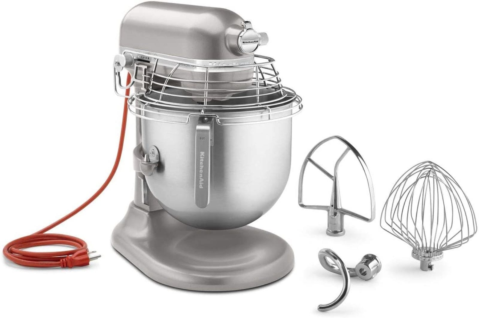 The KitchenAid 8-Quart Commercial Countertop Mixer and Accessories in Nickel.
