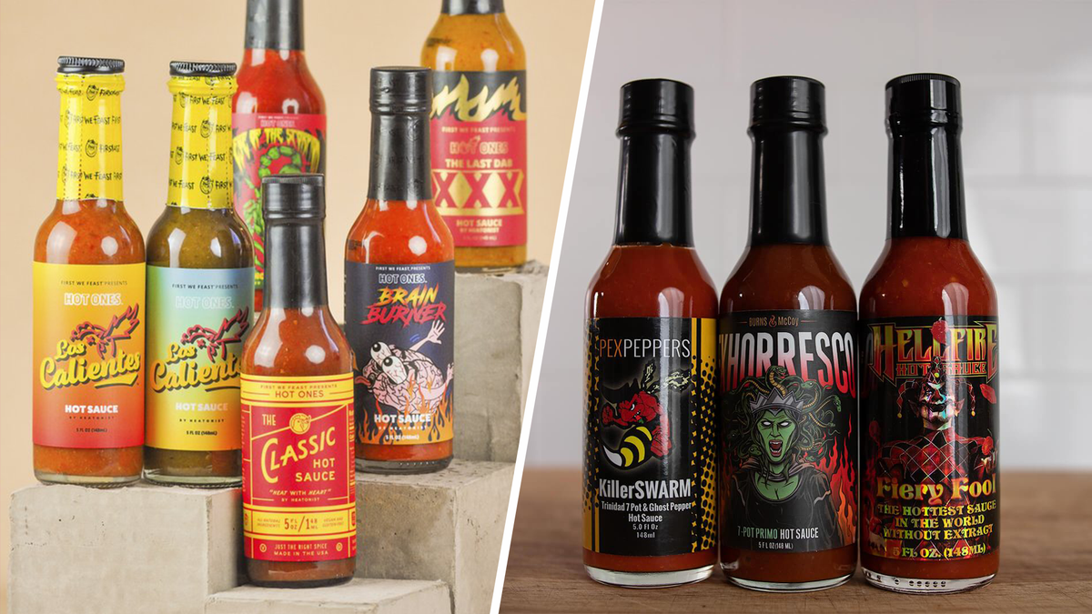Bottles of hot sauce from multiple hot sauce subscription boxes