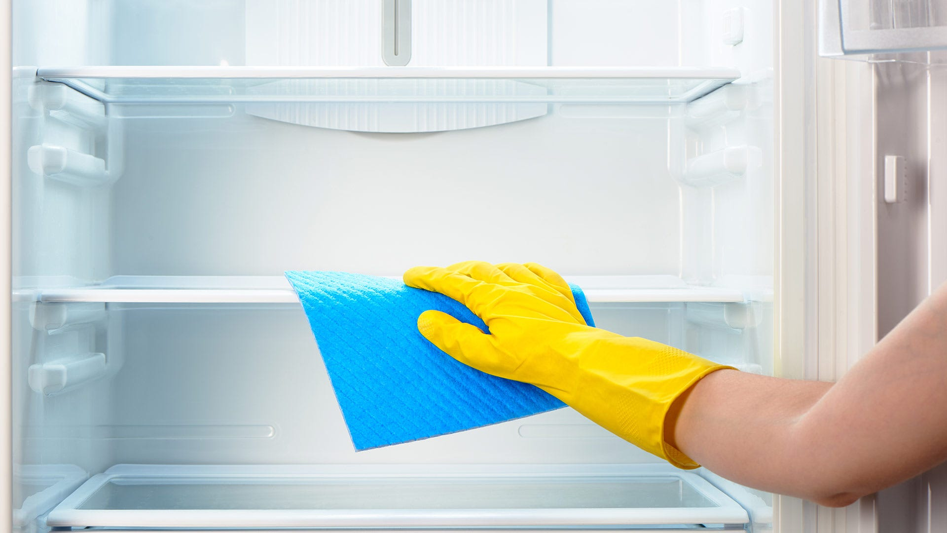 Someone wiping down the shelves of a refrigerator with a blue rag.