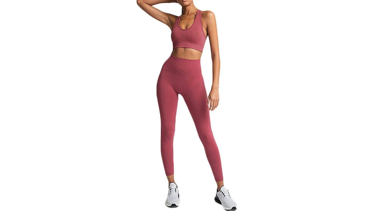 woman wearing coral activewear set
