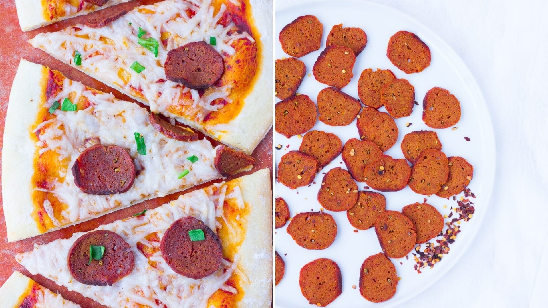 Two pictures of pepperoni pizza and pepperoni on a plate