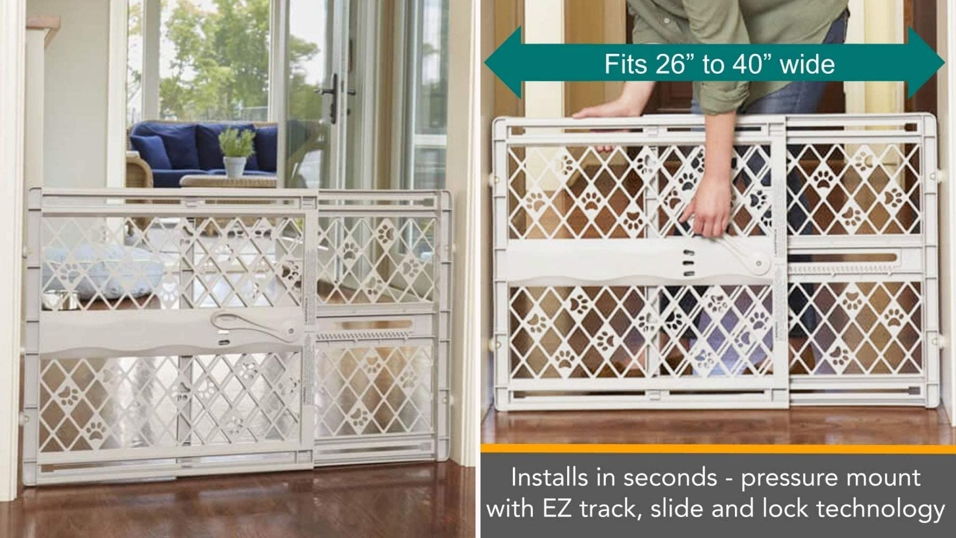 Expandable pet gate blocking of a living room.