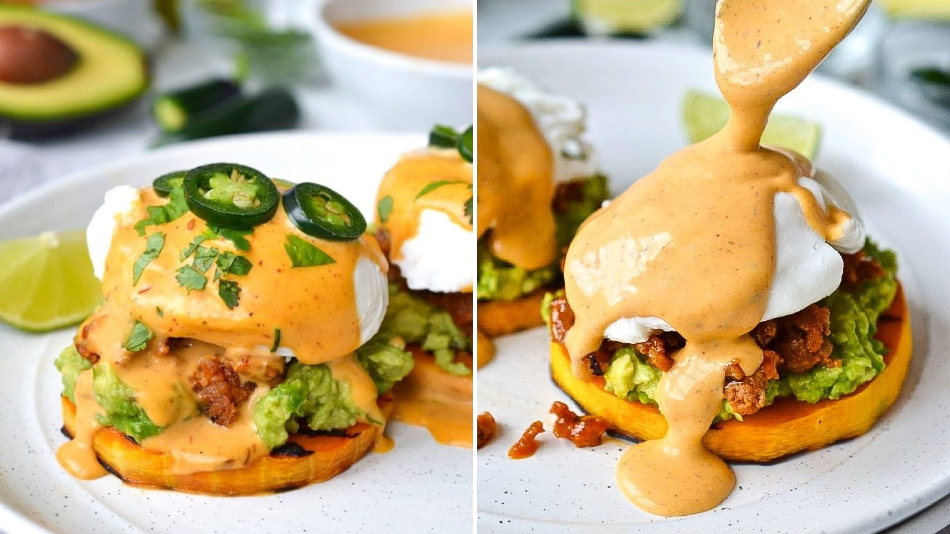 An Eggs Benedict dish with a chipotle sauce and jalapeños on top.