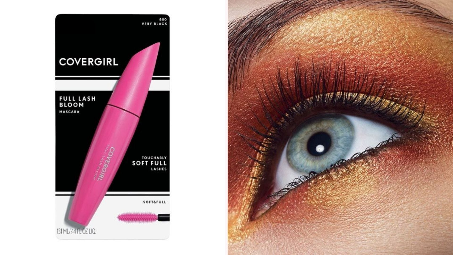 A tube of Covergirl Full Lash Bloom mascara and a woman's eye after applying it.