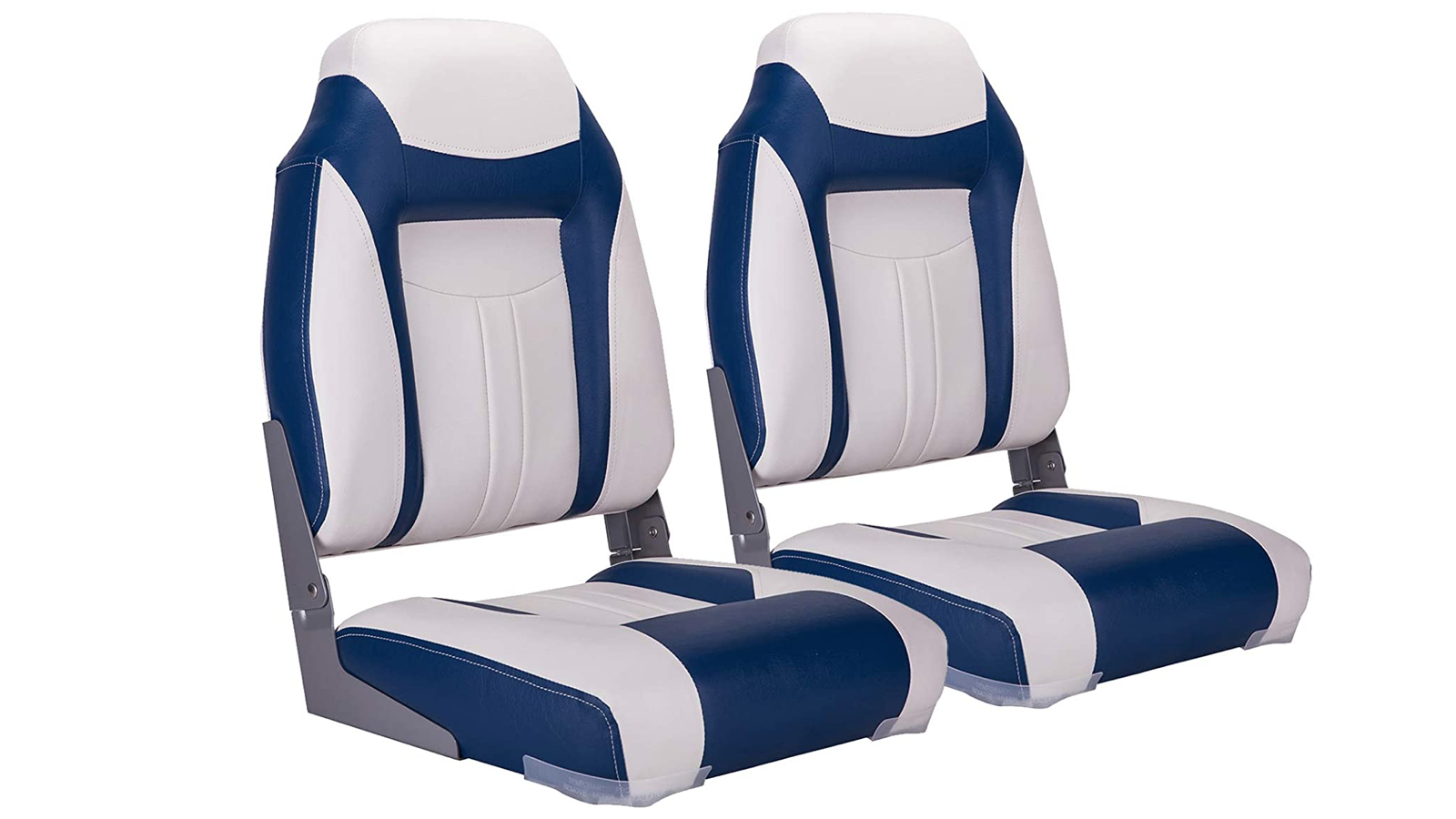 two padded blue and white boat seats