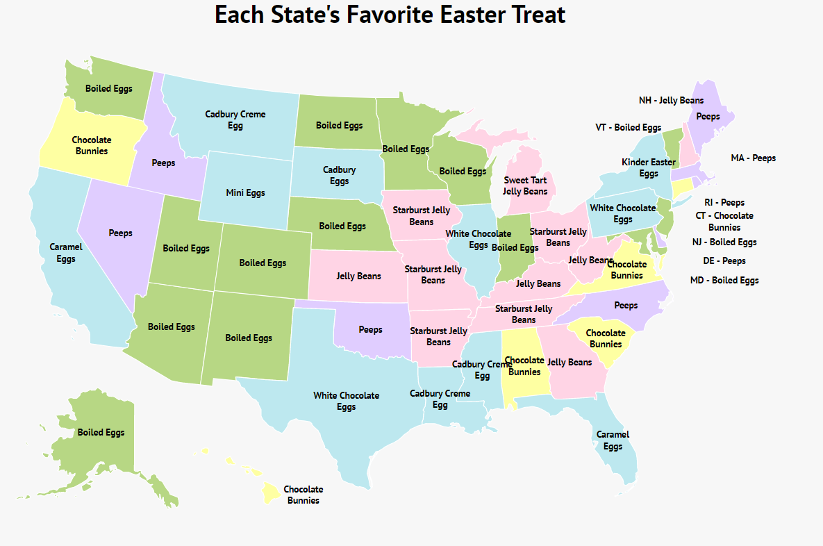 A map of the U.S. showing each state's favorite Easter candy.
