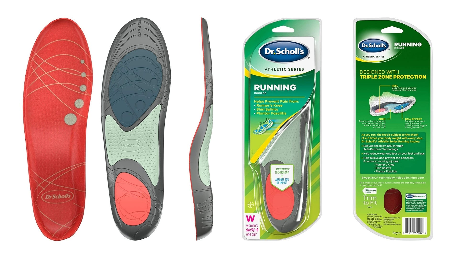 Product photos of Dr. Scholl's running insoles.