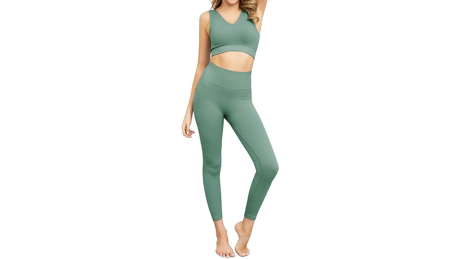 woman wearing green activewear set