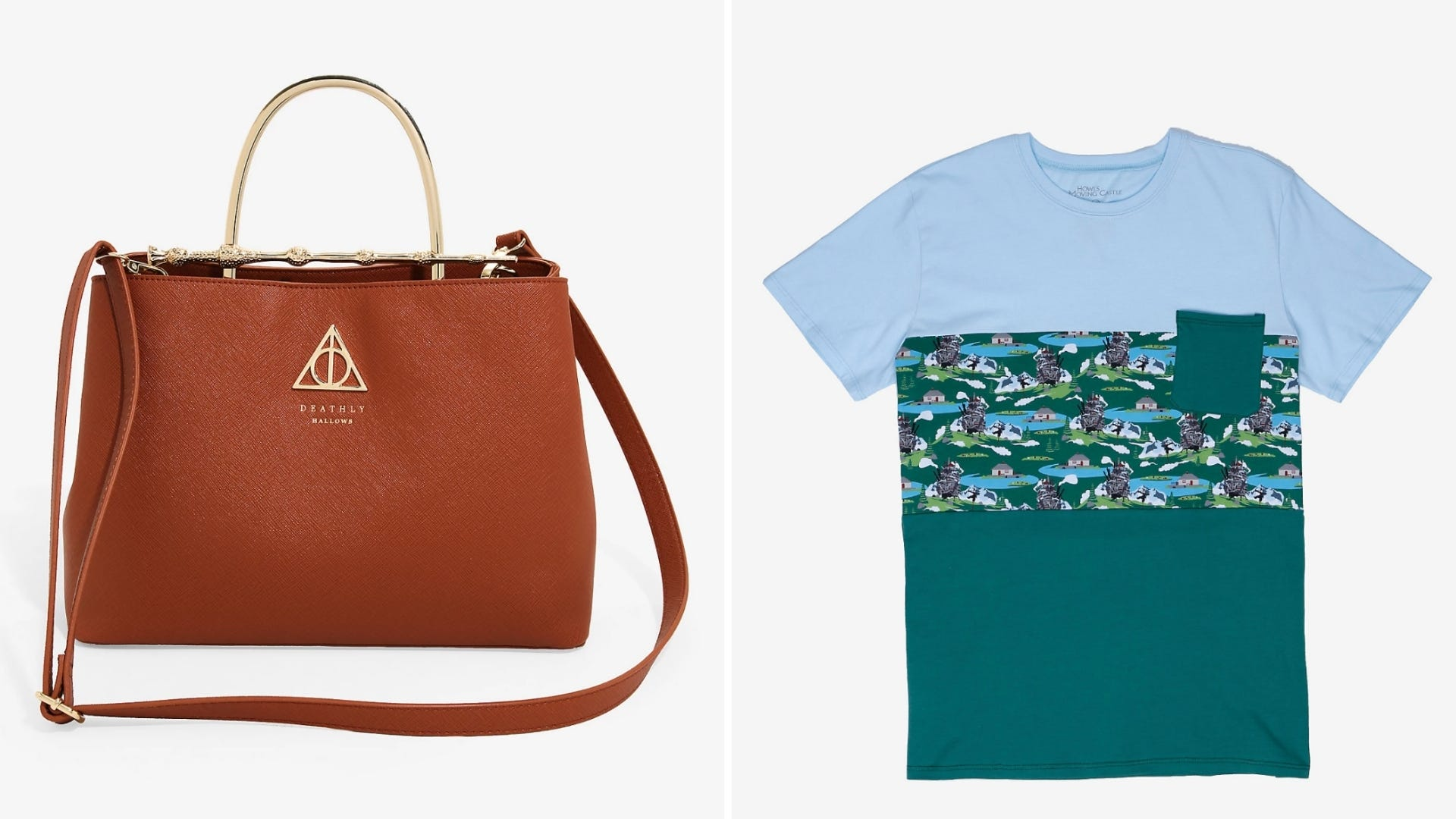 A brown leather purse and a blue and green t-shirt