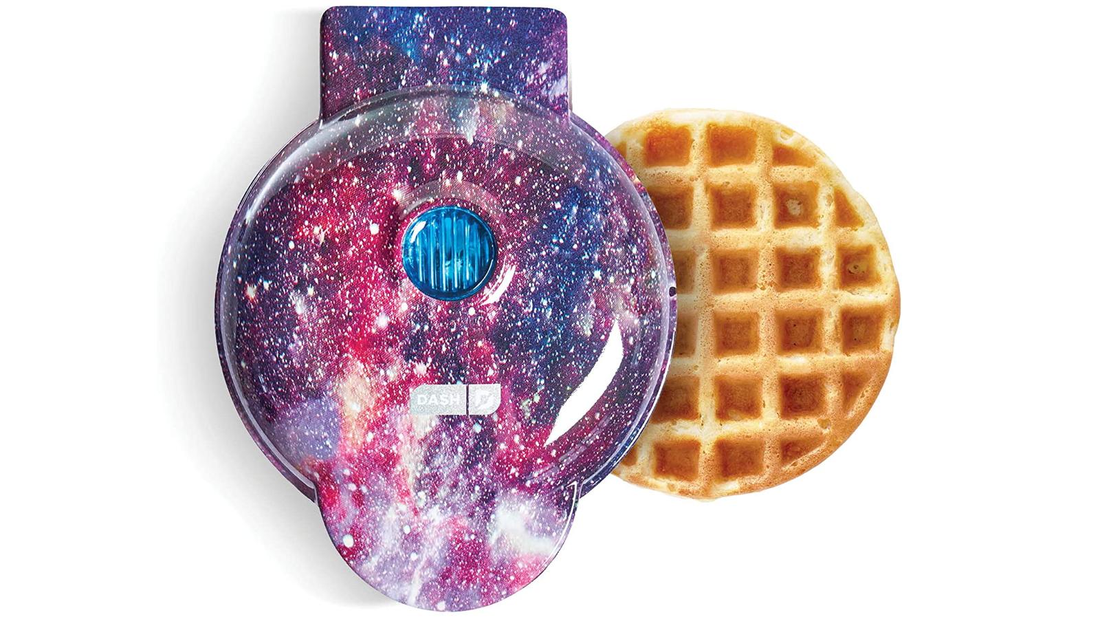 round miniature galaxy-patterned waffle maker
