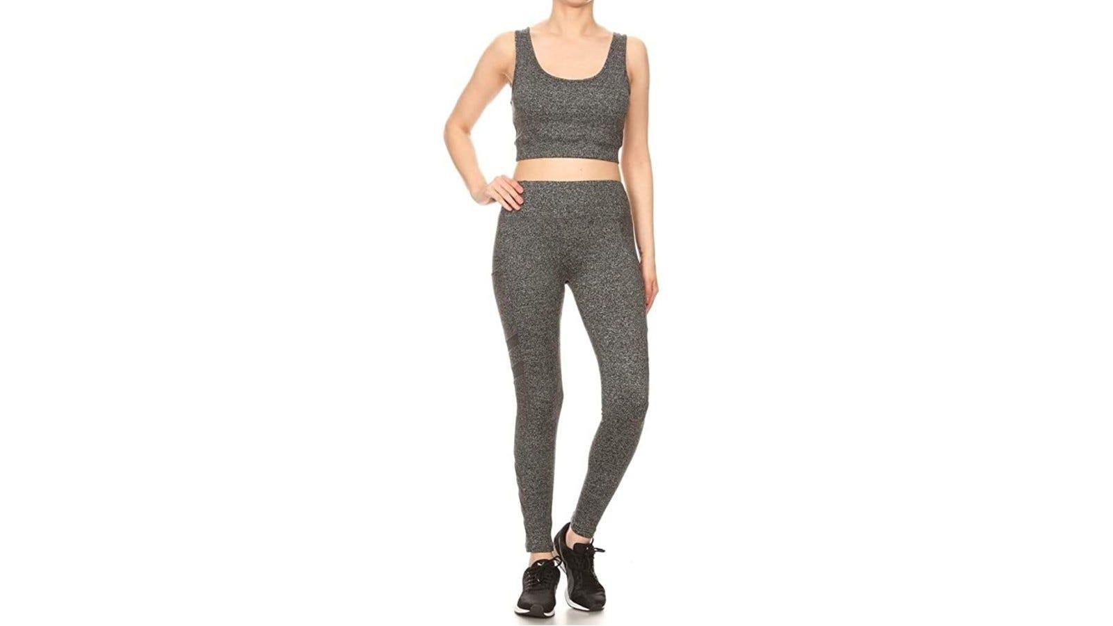 woman wearing gray activewear set