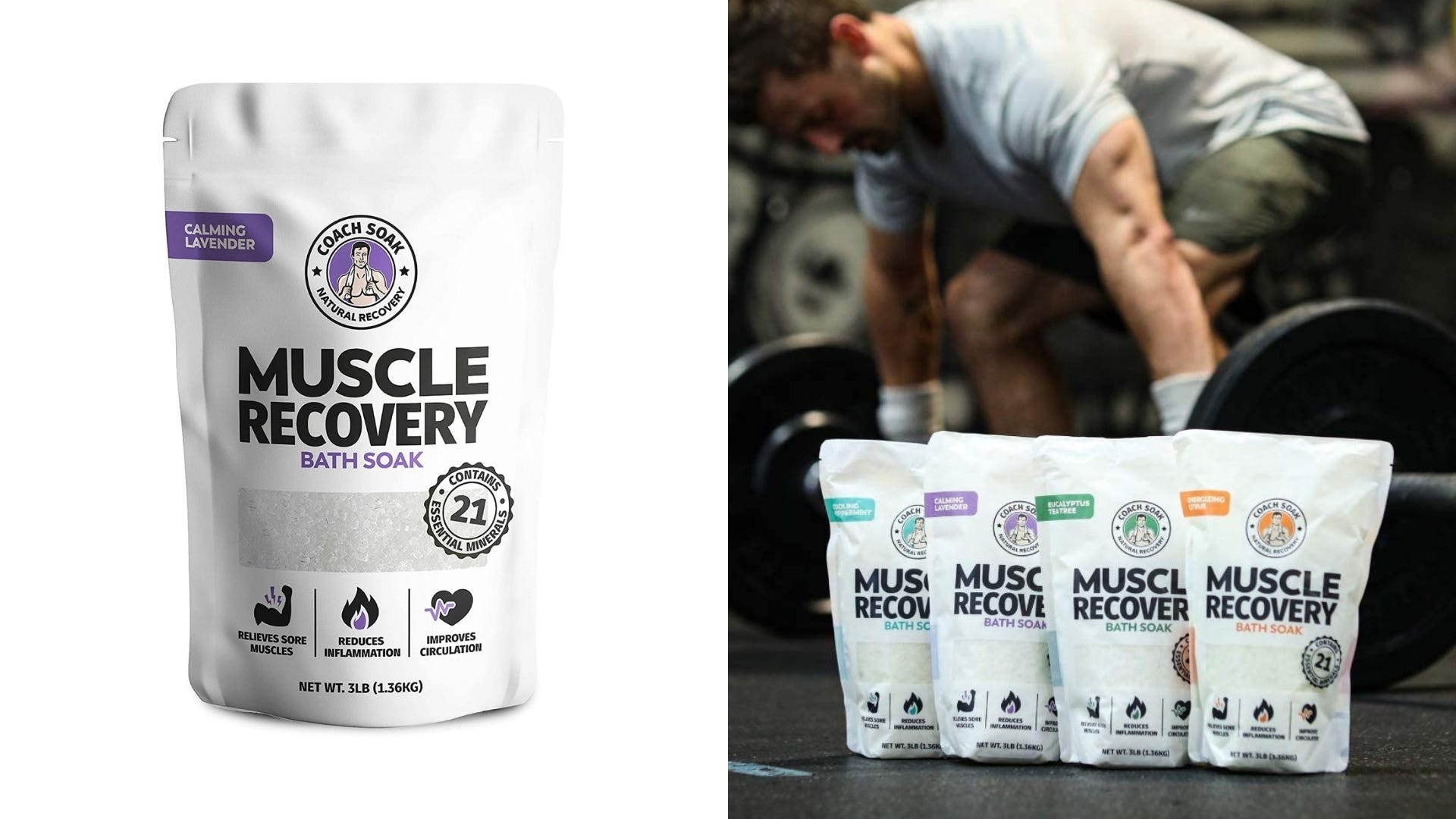 A bag of a muscle recovery bath soak and multiple bags sit in a gym in front of someone weightlifting.