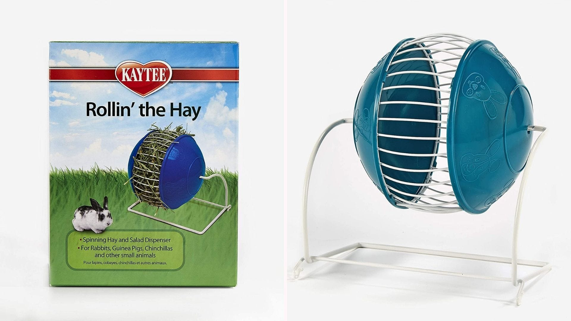 Kaytee rolling hay feeder for rabbits and other small animals.