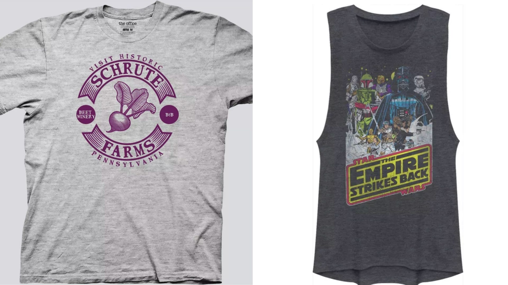 Gray t-shirt with Shrute Farms reference and tank top with Star Wars picture on the front