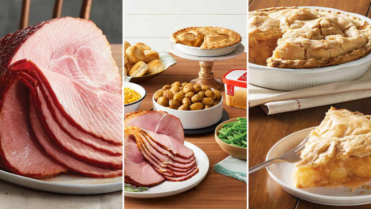A Schwann's spiral ham, and the ham, potatoes, green beans, biscuits, and an apple pie with a slice on a plate.