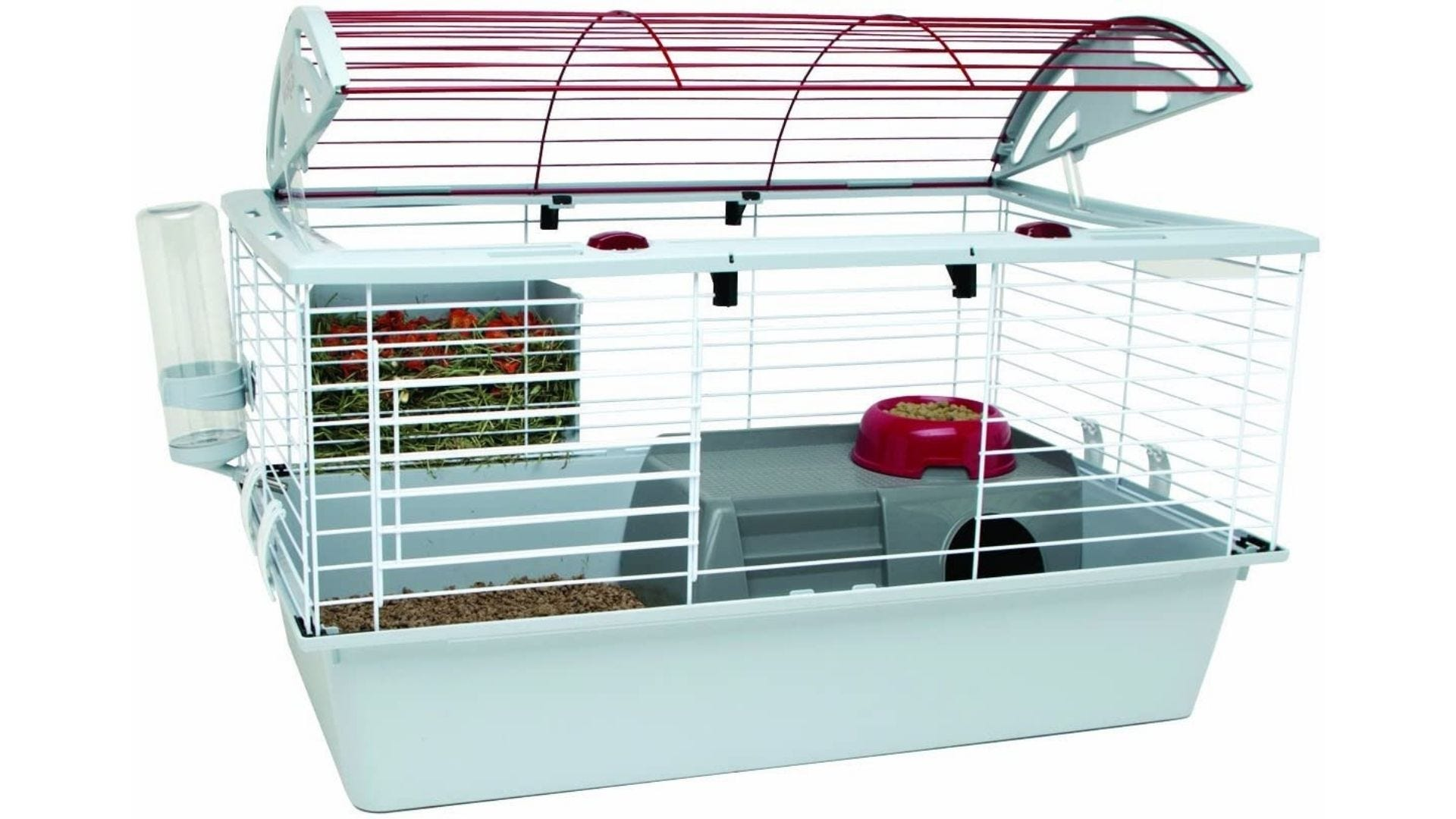 Rabbit cage with water dispenser, hay feeder, and food dish.