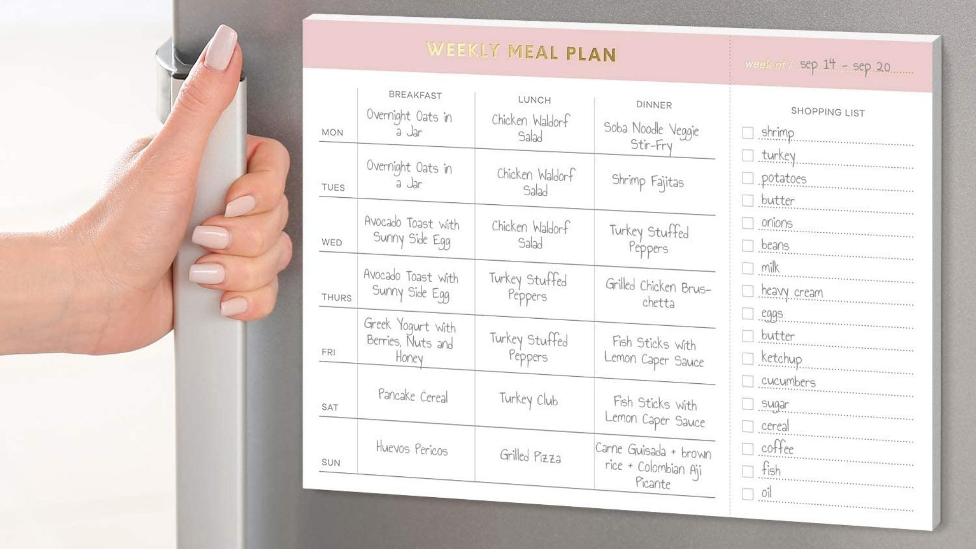 Meal planner on refrigerator