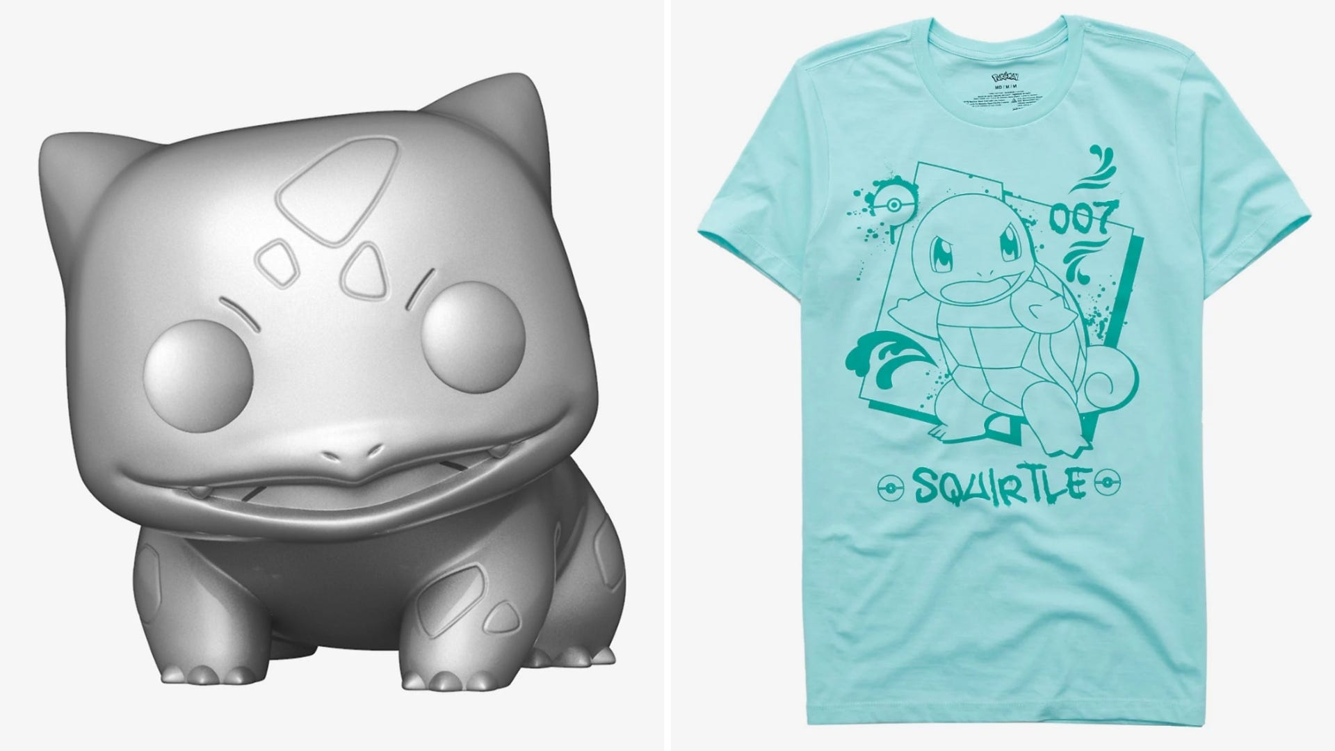 A silver Pokemon figurine and a teal shirt with a Pokemon on it.