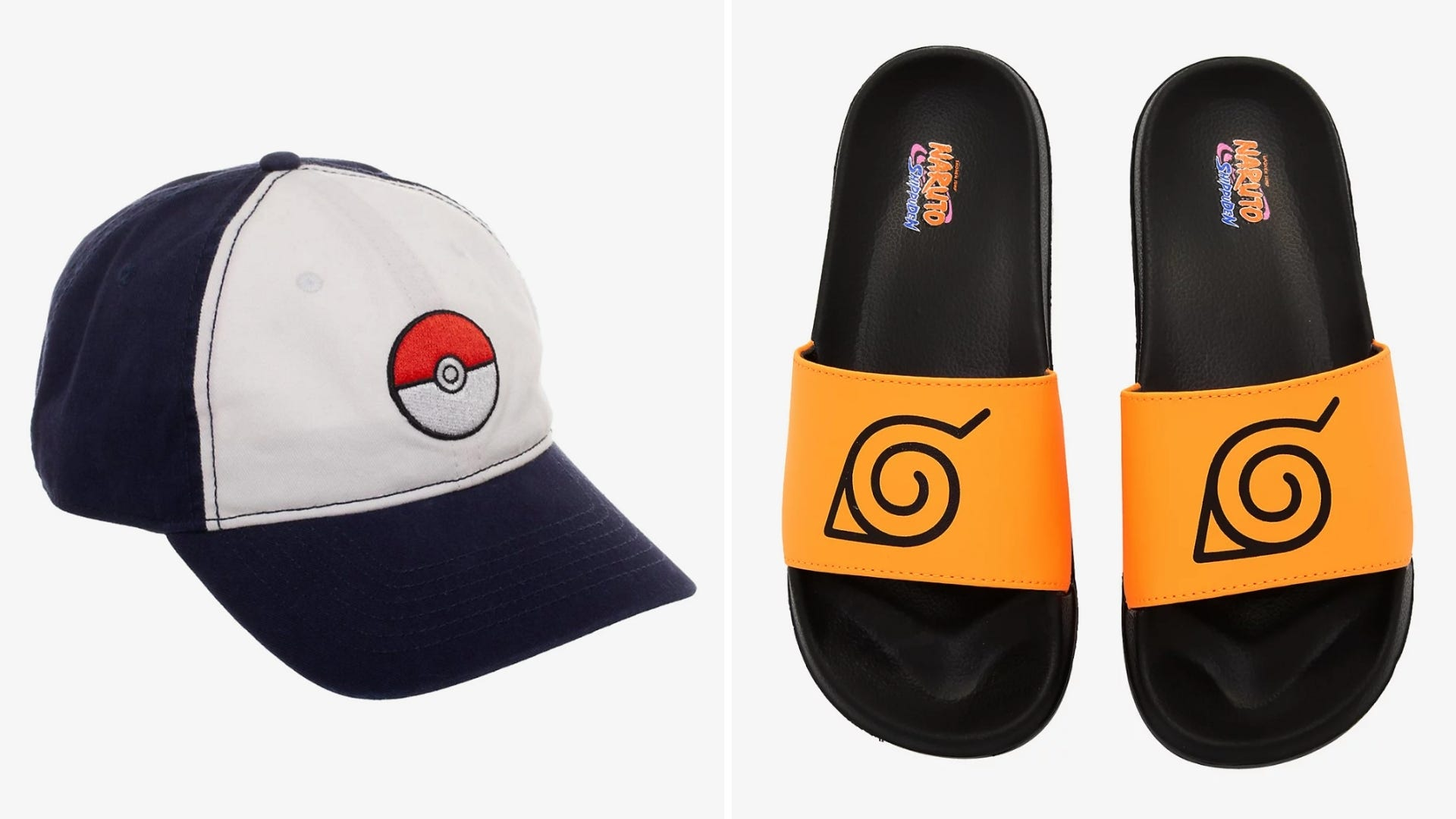 A baseball hat with a Pokeball on it and a pair of sandals with the Naruto logo on them