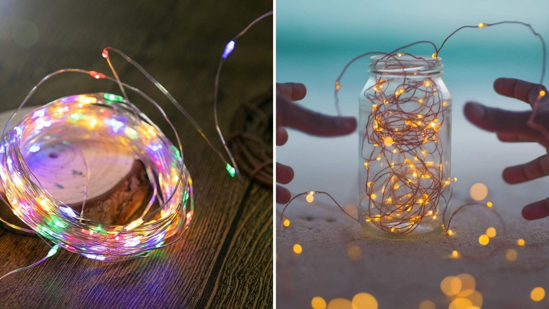 Two side by side images of Brightown fairy string lights. The left image is of rainbow lights curled up and ready to install, and the right image is of fairy lights lit up in a jar.