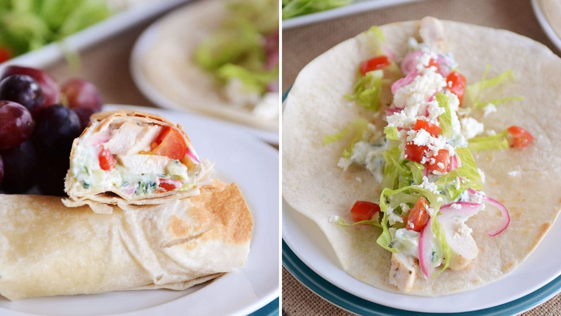 Two photos of a burrito filled with chicken, lettuce, tomatoes, and onions