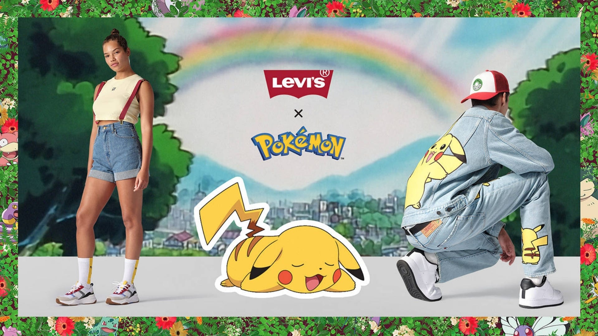A girl stands wearing blue shorts and overalls next to a man squatting wearing a jean jacket and pants with Pikachu on them.