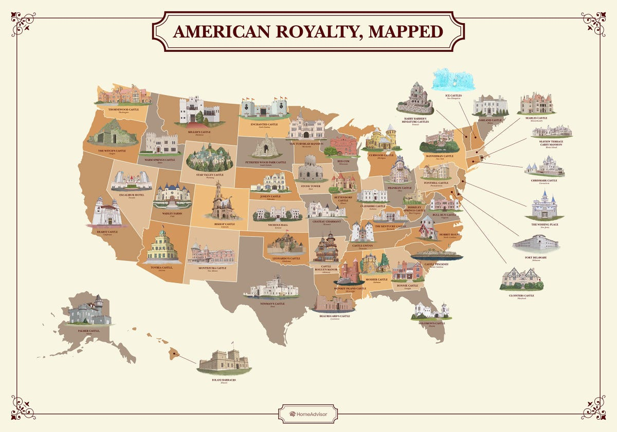 A map of the U.S. featuring miniature drawings of a castle in each state.