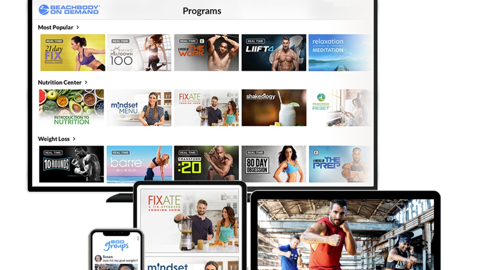 different programs offered by beachbody