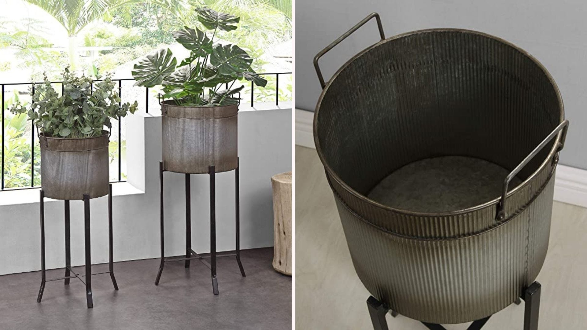 On the left, a pair of metal planters with tall bases, and on the right, a closeup of one of the planters.