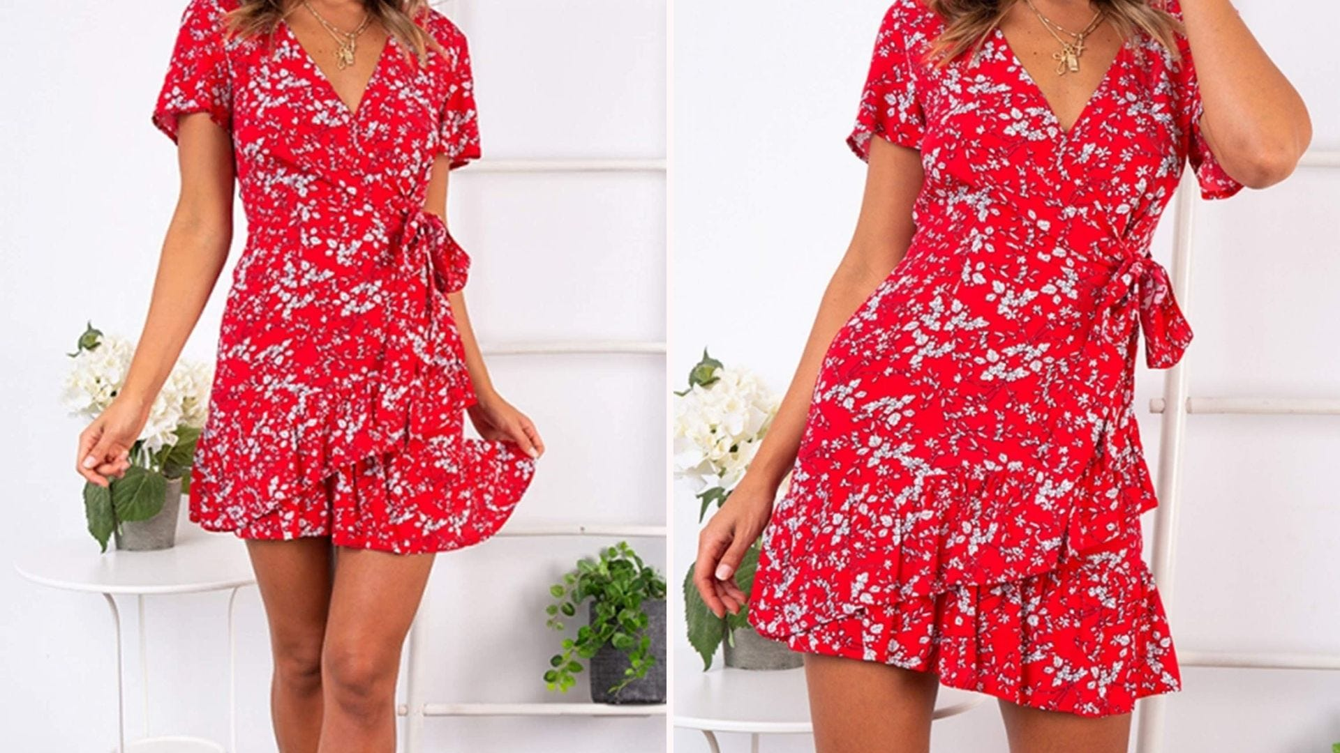 Two pictures of a woman, from the shoulders down, wearing a red floral print dress