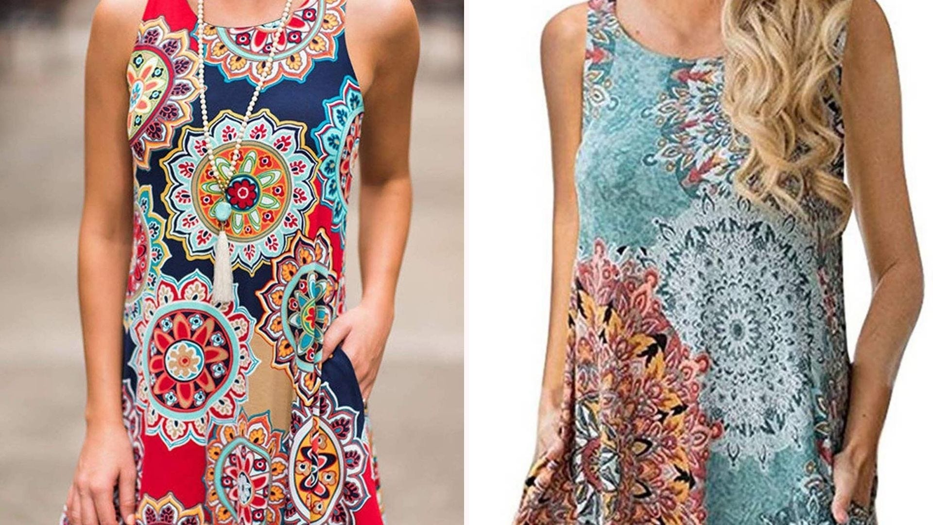 A woman in a multicolor floral graphic print dress; a woman in a blue and red floral print dress