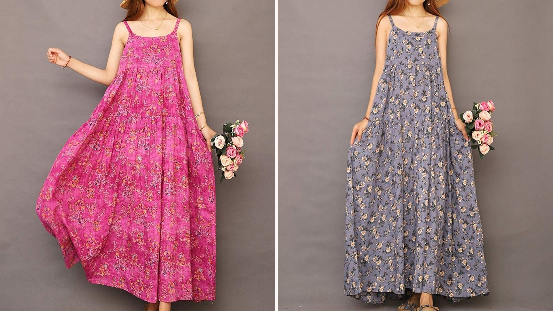 A woman in a maxi pink floral dress holding flowers; a woman in a blue-gray floral maxi dress