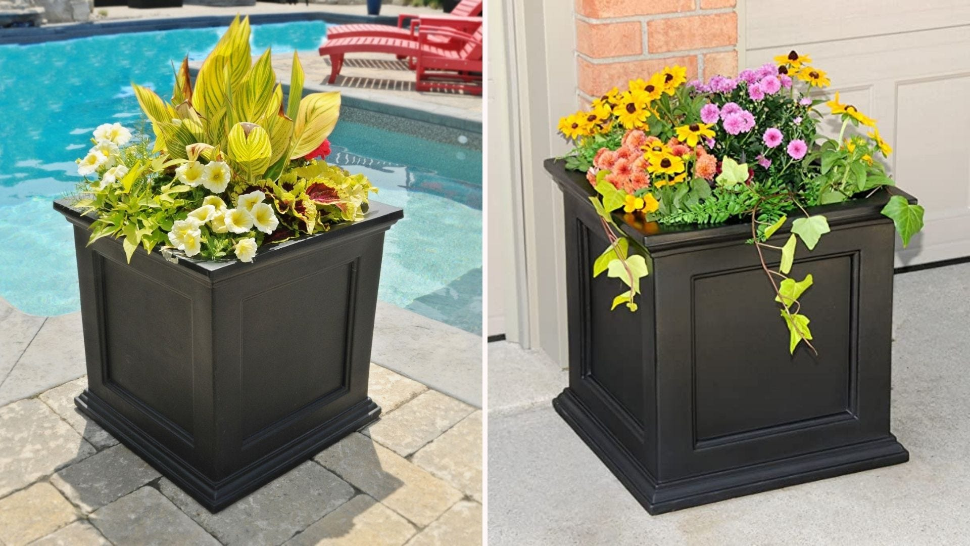 Two large black square planters, one by a pool and one by a garage.