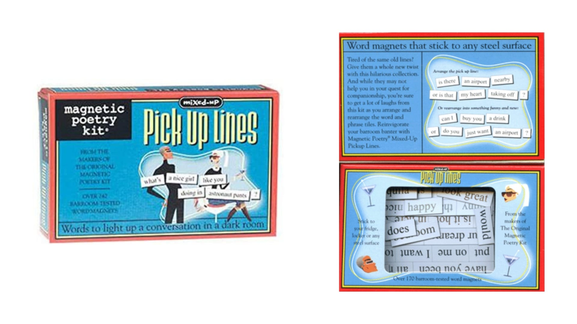 A front and inside view of the Mixed-Up Pick Up Lines Magnetic Poetry kit