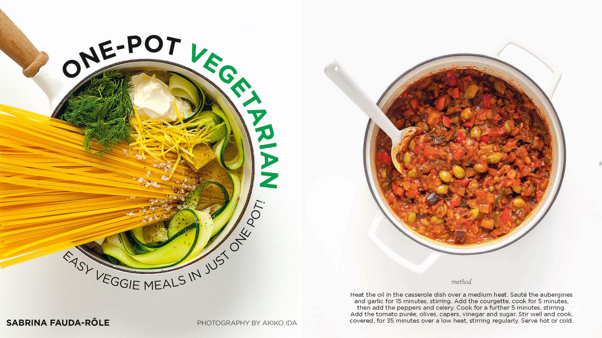 """The cover of the """"One-Pot Vegetarian"""" and a pot full of beans and veggies."""