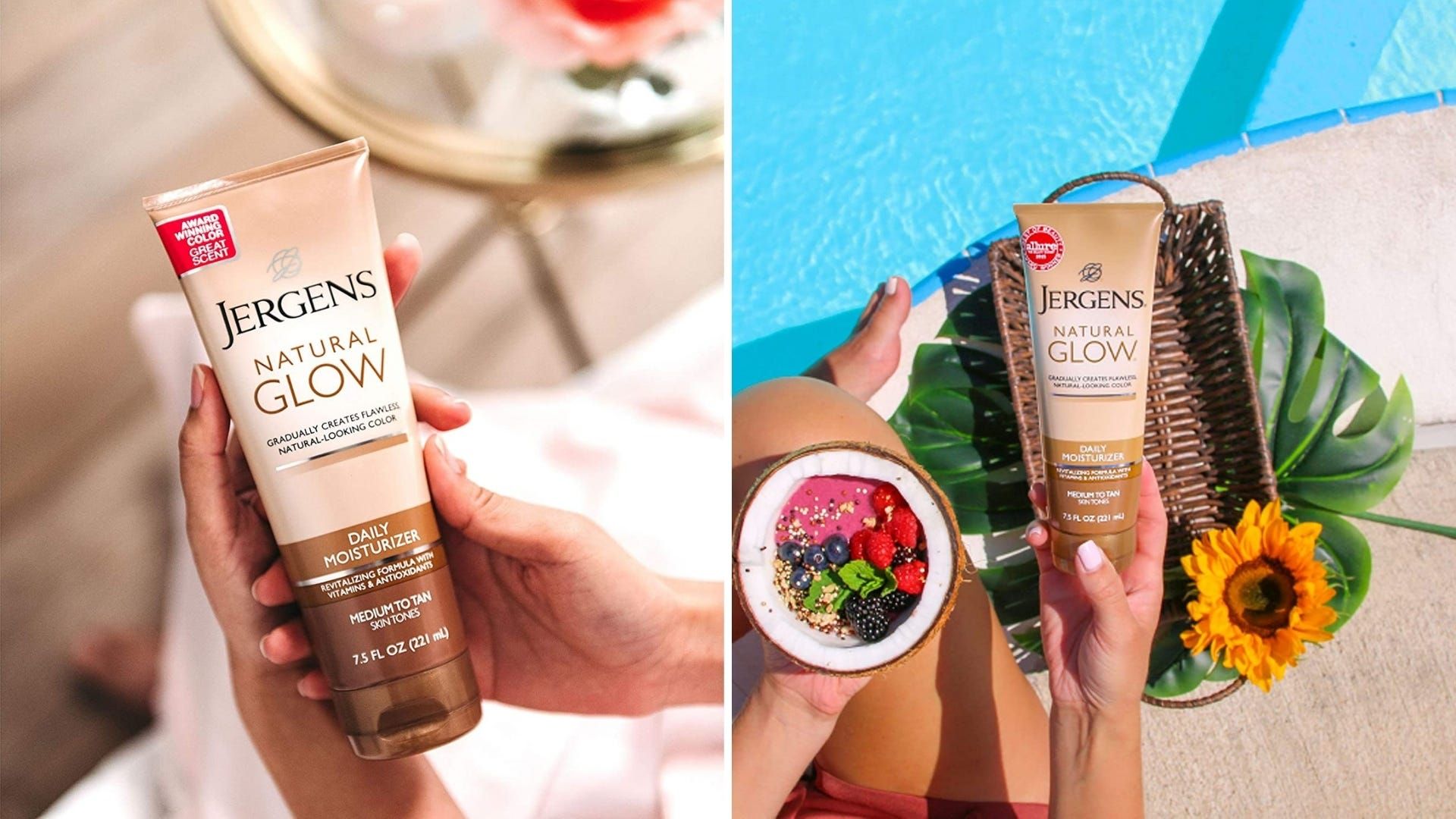 Someone holds a bottle of tanning lotion inside and outside by the pool.