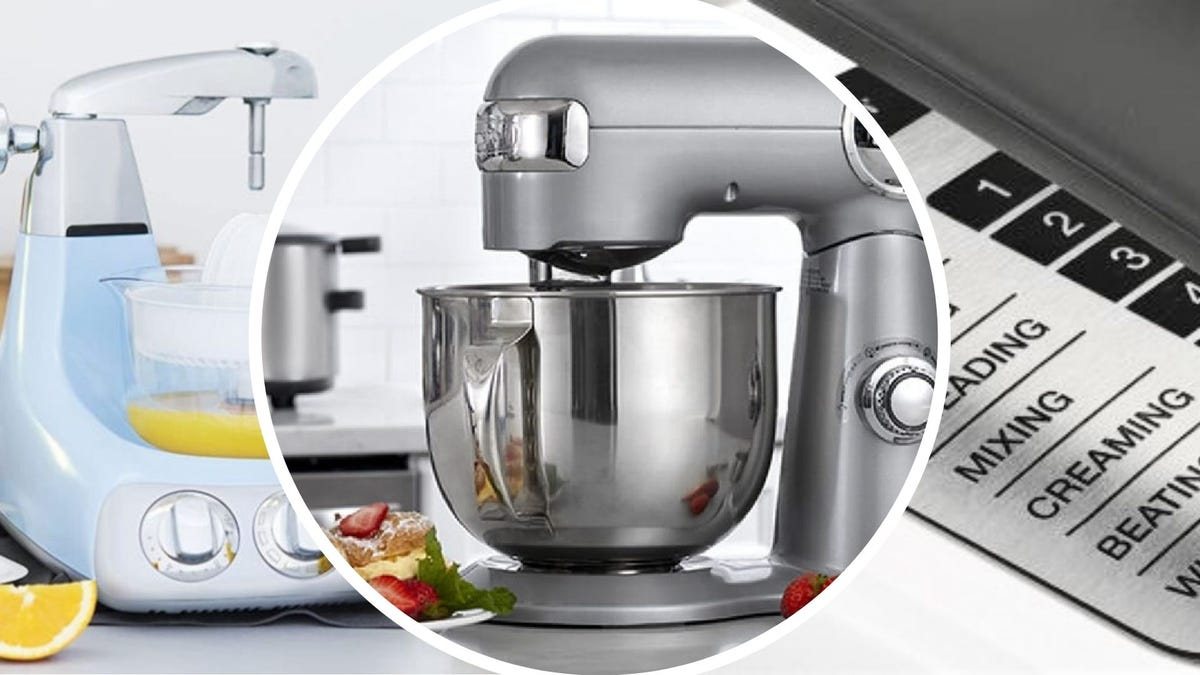 The Ankarsrum Original and Cuisinart 5.5-Quart stand mixers, and the settings on the Hamilton Beach four-quart standing mixer.